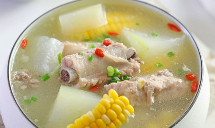 Winter melon and pork rib soup with IONA Purple Clay Slow Cooker